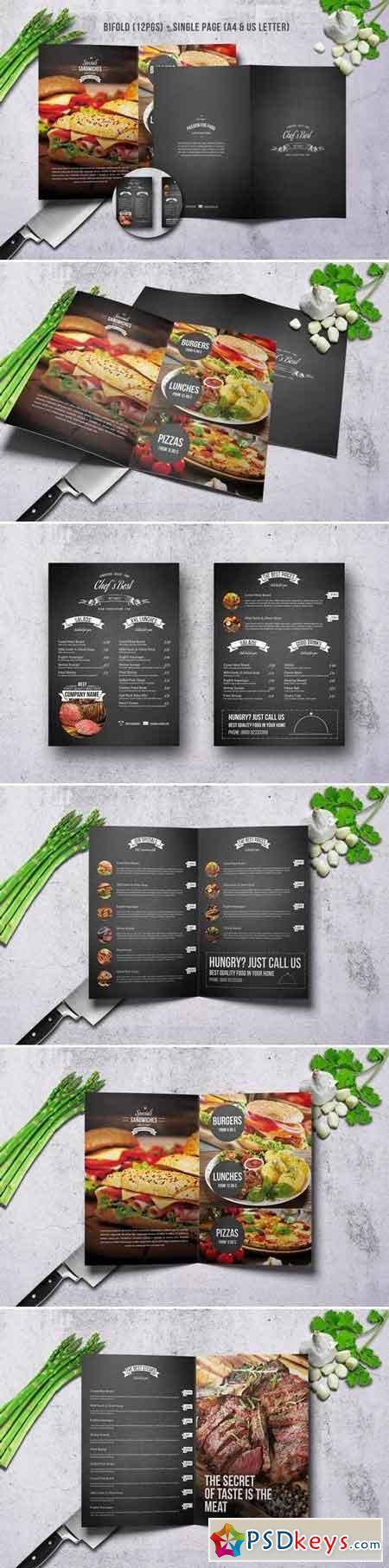 Chef Restaurant Menu Bundle A4 & US Letter