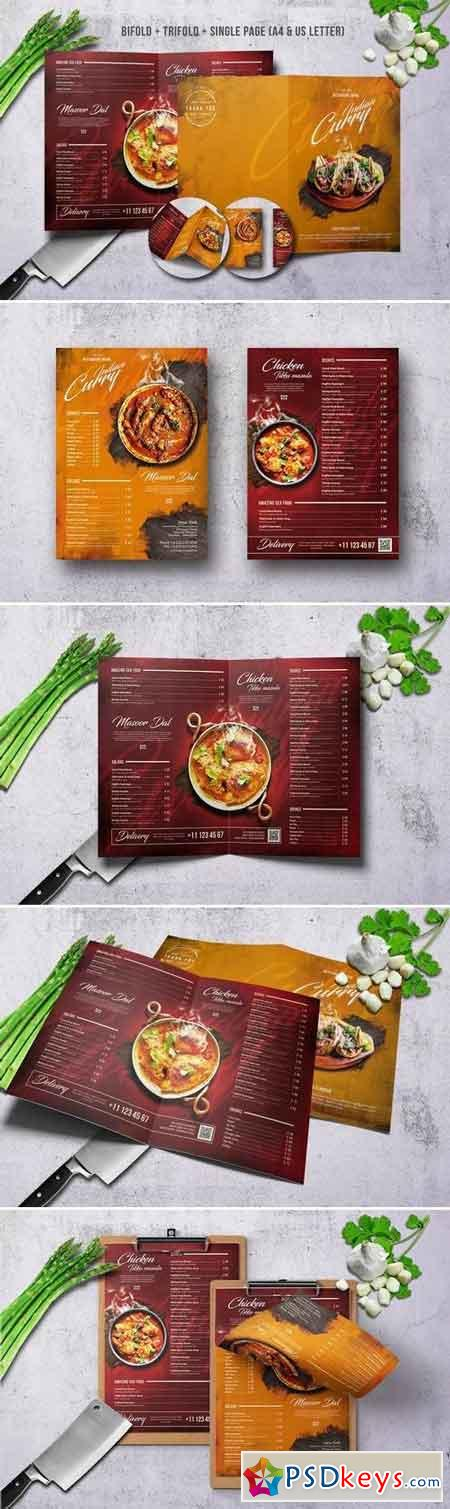Curry Indian Menu Bundle A4 & US Letter