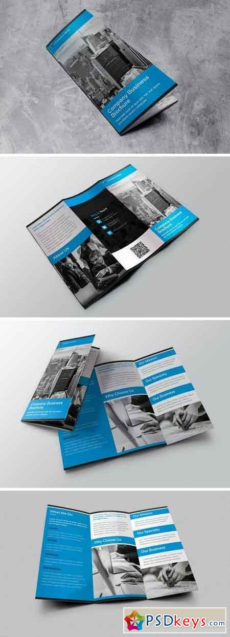 Company Business - Trifold Brochure Gray Blue