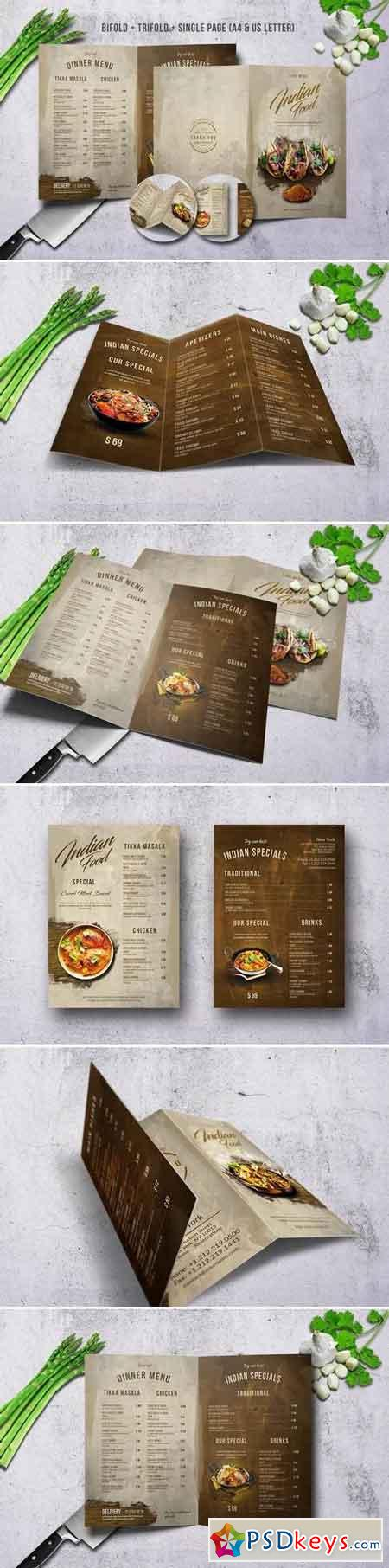 Indian A4 & US Letter Menu Bundle
