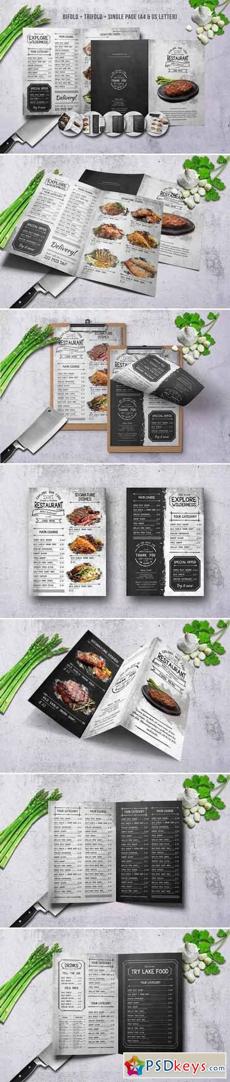 Vintage Food Menu Bundle A4 & US Letter