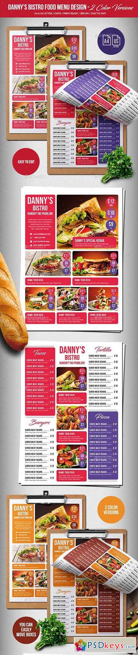 Danny's Bistro Menu Bundle - Single Page & Trifold - A4 & US Letter 20623981
