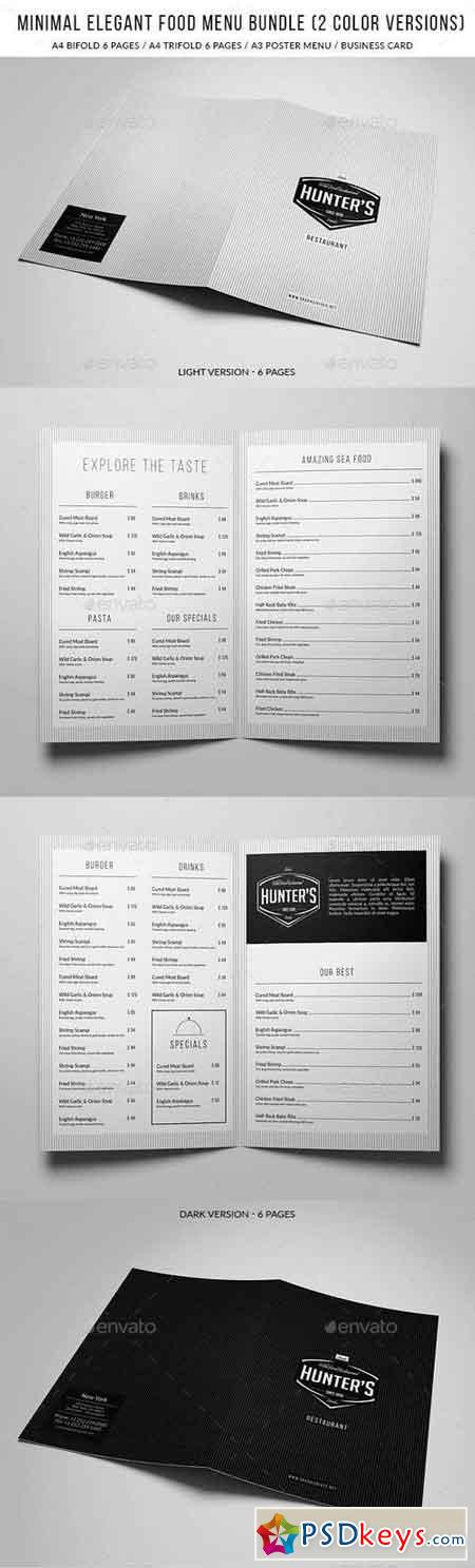 Minimal Elegant Food Menu Bundle (2 versions) 15802760