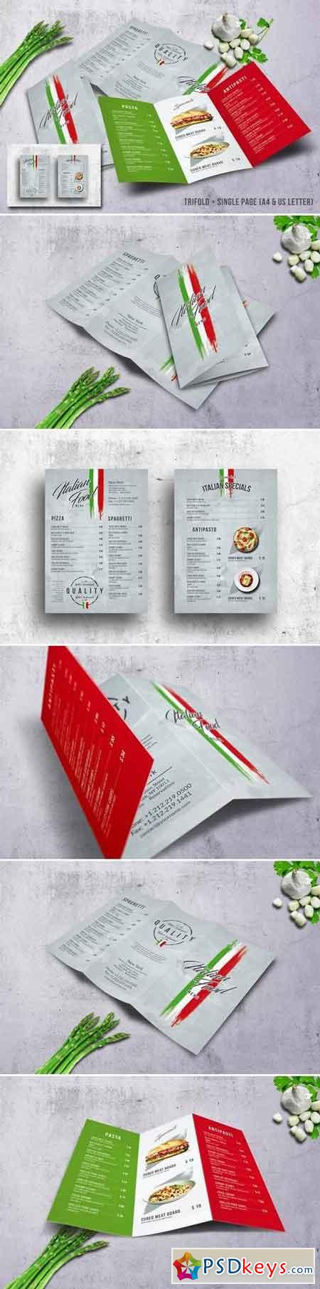 Italian Food Menu Bundle A4 & US Letter