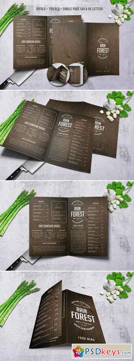 Rain Forest Menu Bundle A4 & US Letter