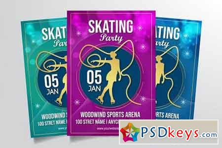 Ice Skating Party Flyer Template 3322896