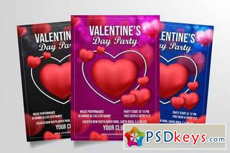 Valentine Day Party Flyer Template 3322899