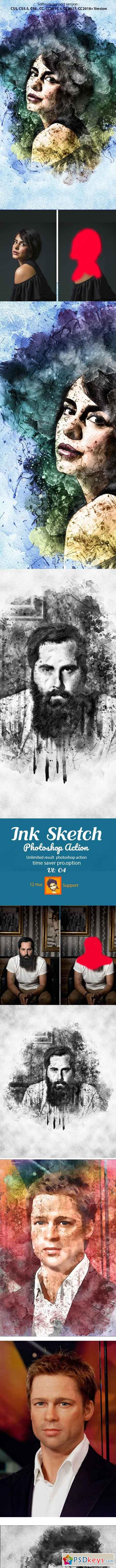 Ink Sketch Photoshop Action 22864165