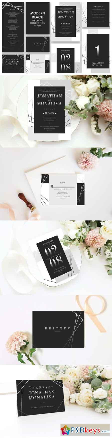 Modern Black Wedding Invitation Set 3298873