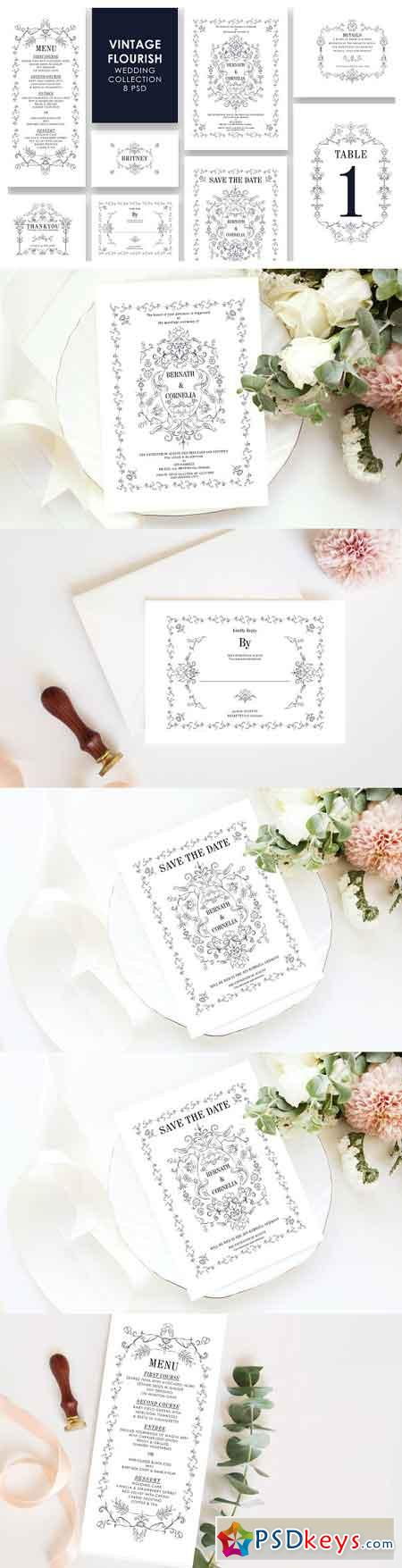 Vintage Wedding Invitation Set 3305811