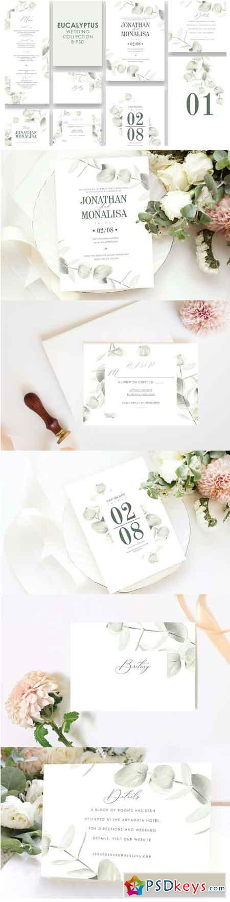 Eucalyptus Wedding Invitation Set 3313971