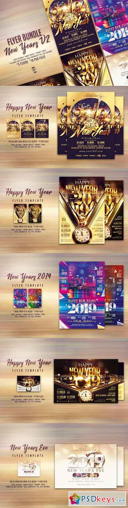 New Years Flyer Bundle V2 3286191