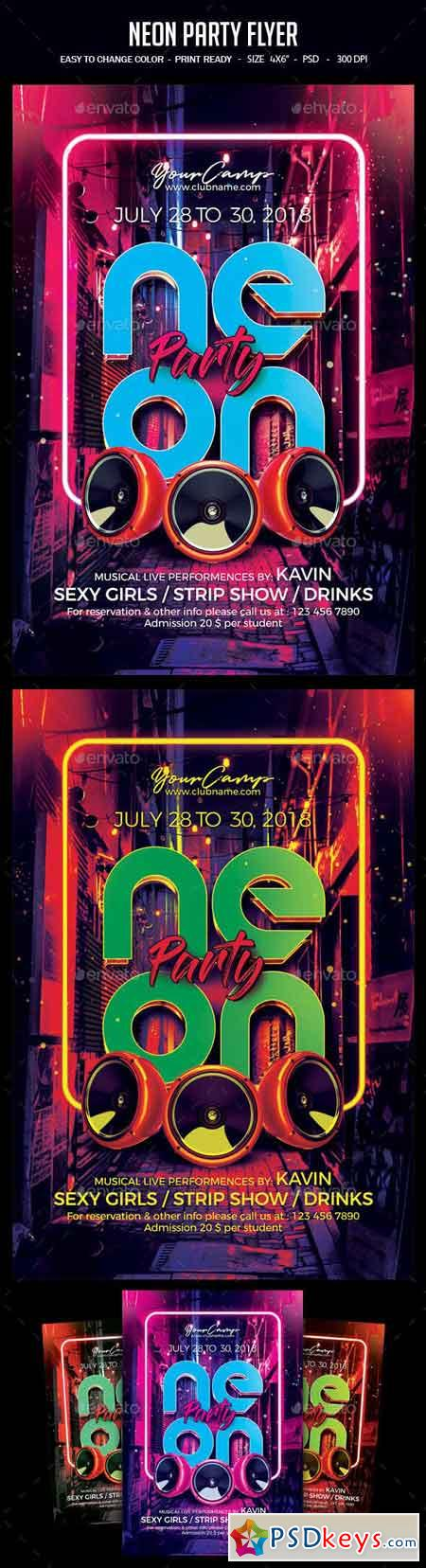 Neon Party Flyer 23055132