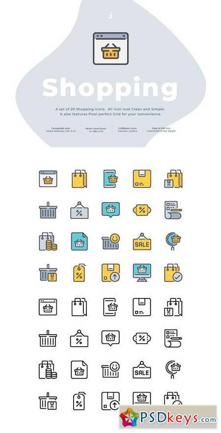 20 Shopping icon set