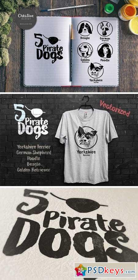 5 Pirate Dog face 392558