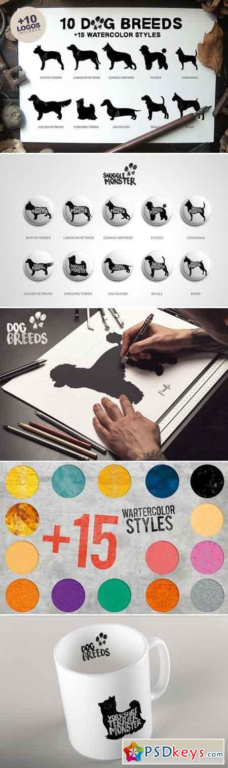 10 Dog Breeds + 15 Watercolor Styles 392548