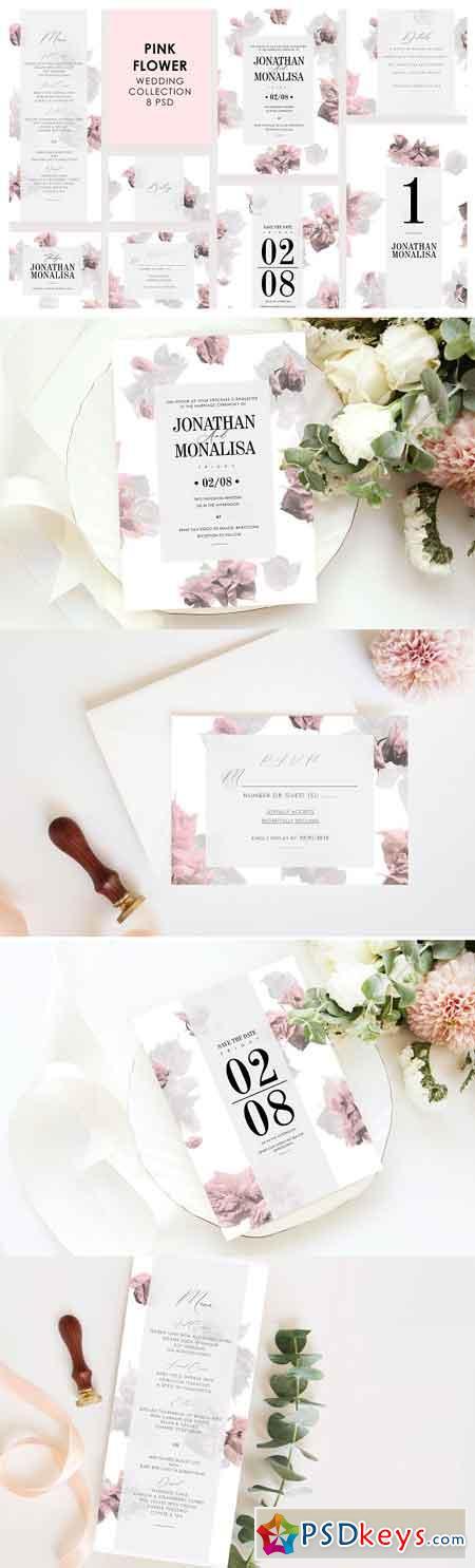 Pink Flower Wedding Invitation Set 3307471