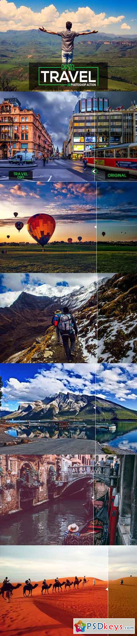 20 Pastel Travel Photoshop Action 3517449