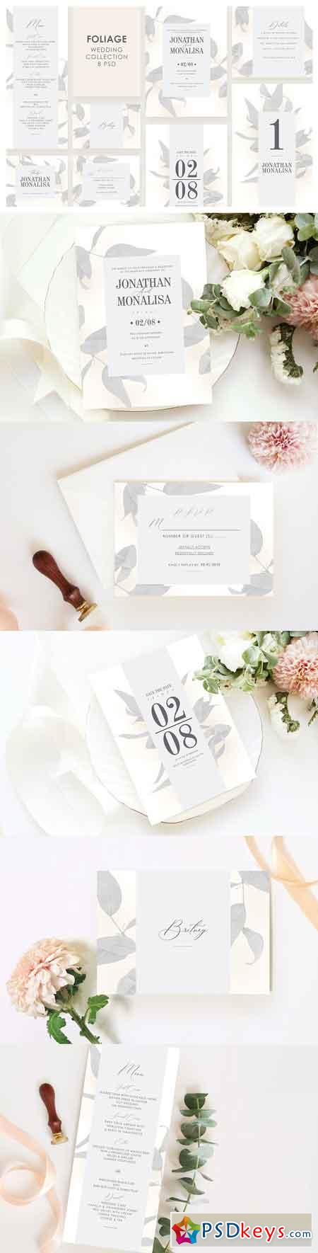 Foliage Wedding Invitation Set 3306906