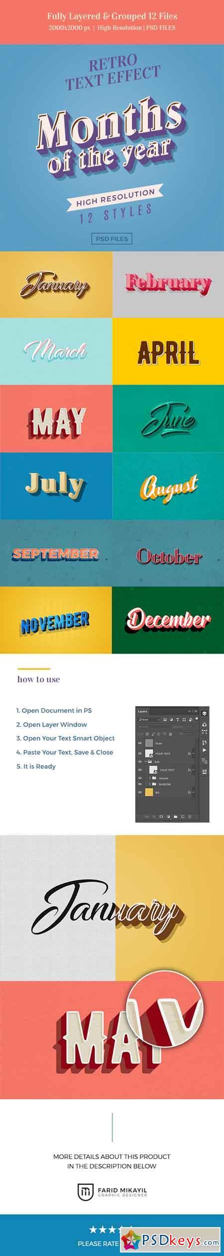 Months of the Year Retro Text Effects 23086037