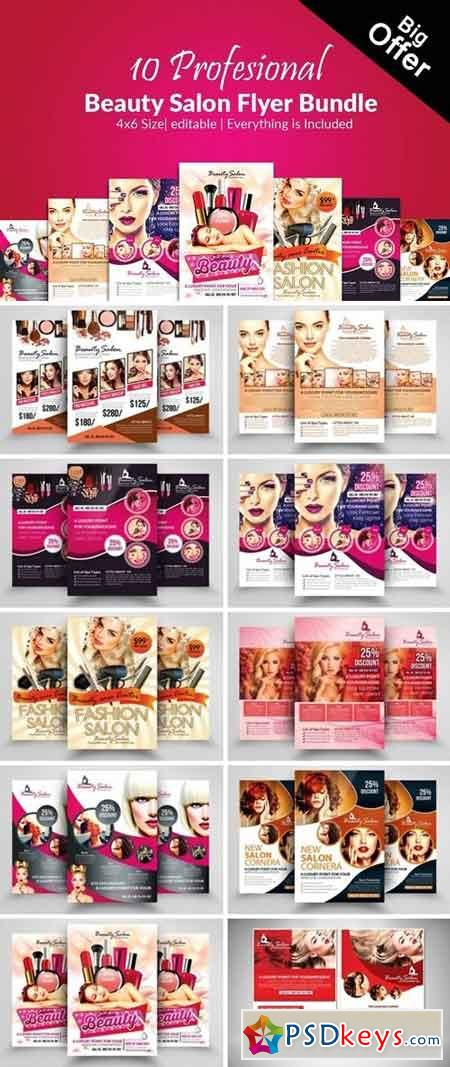 10 Beauty Salon Flyer Bundle 2142795