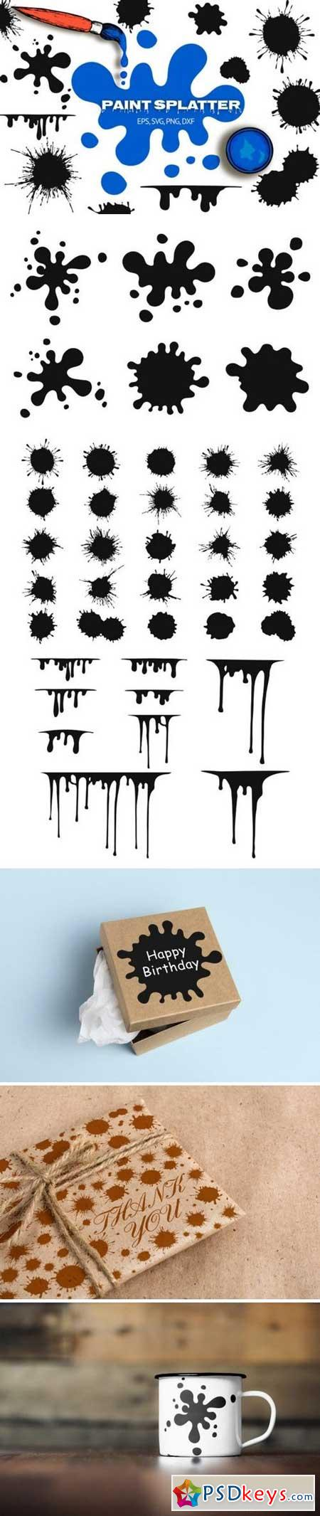 40 Hand Drawn Paint Splatters 866321