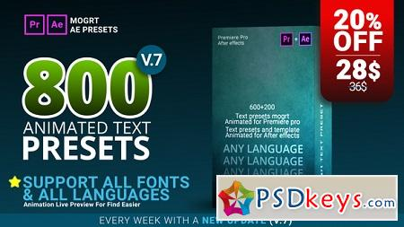 800 Text Presets for Premiere Pro After Effects V.7 22508370