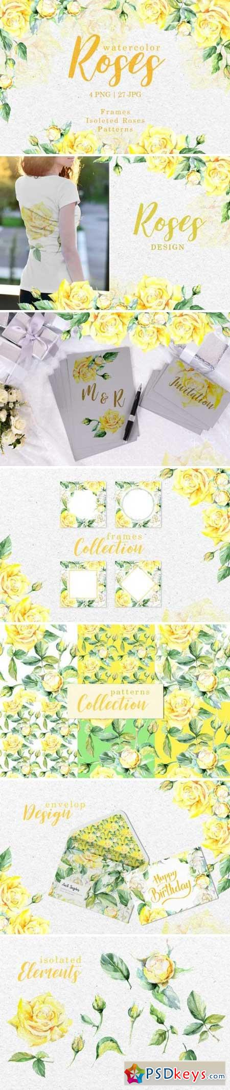 Roses Bright yellow Watercolor png 3319188
