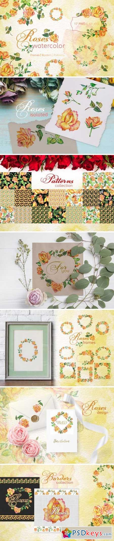 Roses Watercolor Yellow png 3318453