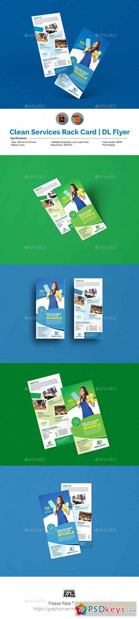 Cleaning Service Rack Card DL Flyer Template 23070123