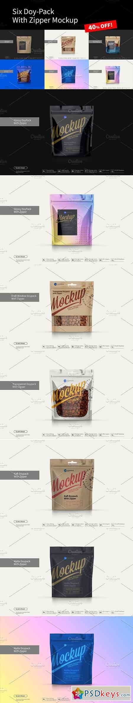 Six Doy-Pack Mockup 3284888