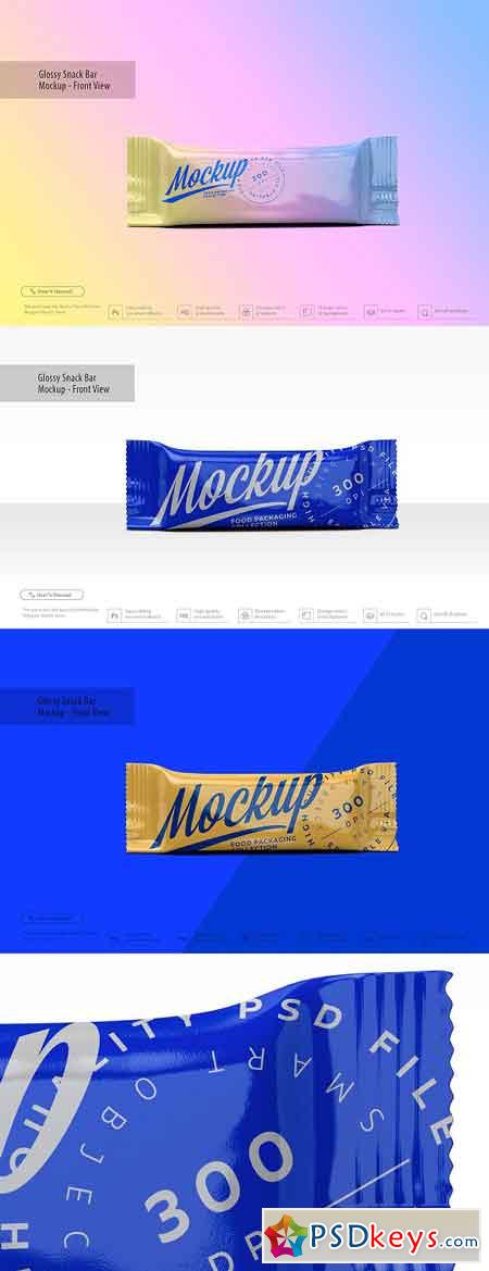 Glossy Snack Bar Mockup - Front View 3291335