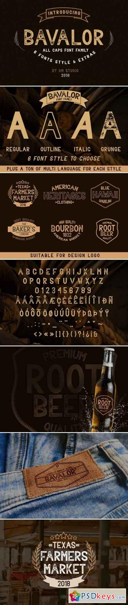 Bavalor - All Caps Font Family with Extras 185575