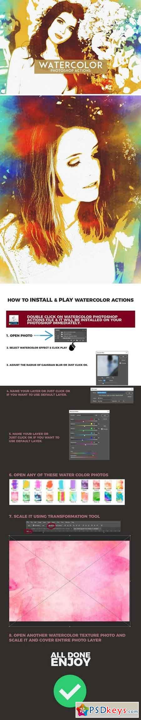 Watercolor Photoshop Actions 1201680
