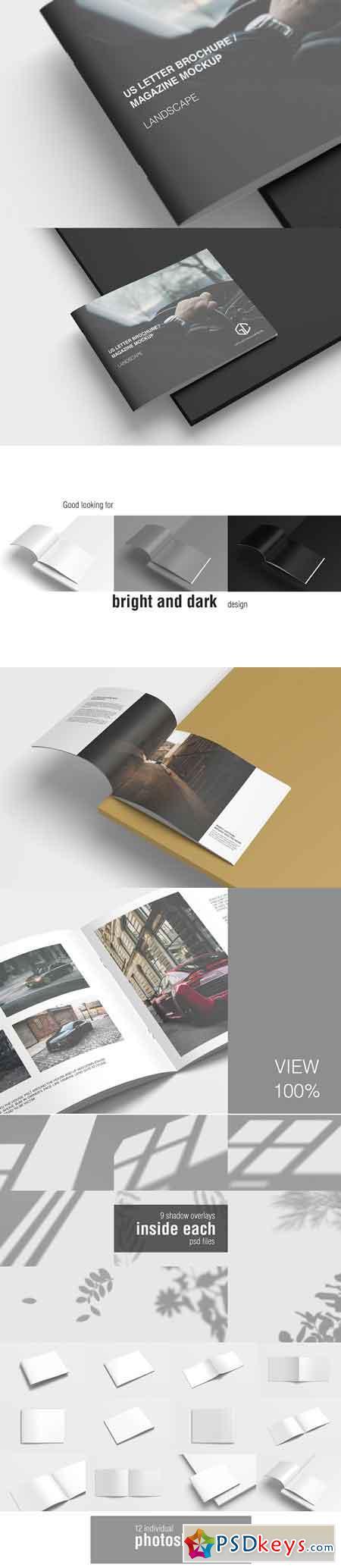 US Letter Landscape Brochure Mockup 3336390