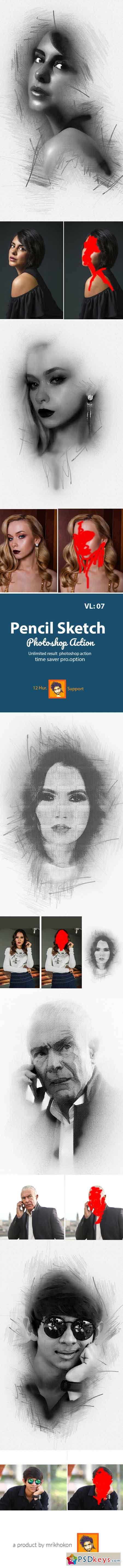 Pencil Sketch Photoshop Action 23048429