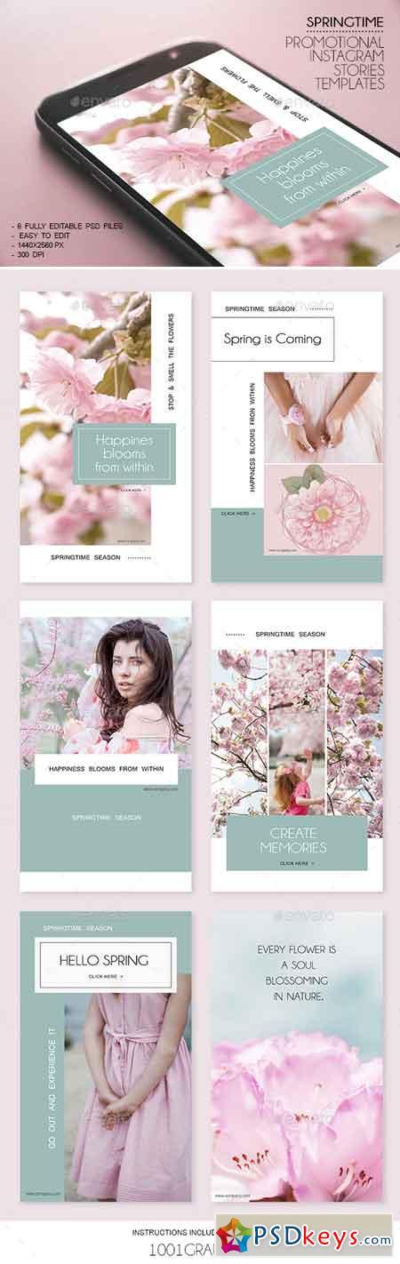 6 Springtime Insta-Story Templates PSD 23098661