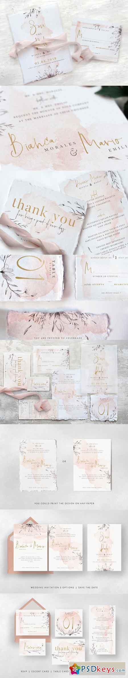 Classy Watercolor Wedding Suite 3340560