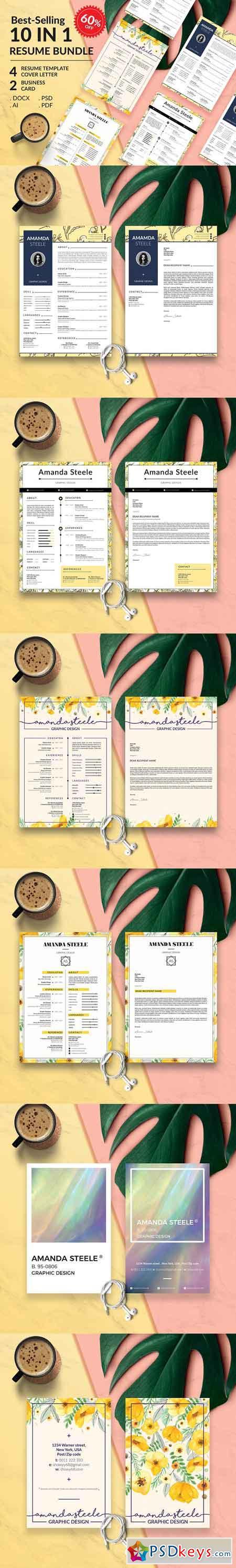 Floral Resume BUNDLE Template N 3339034