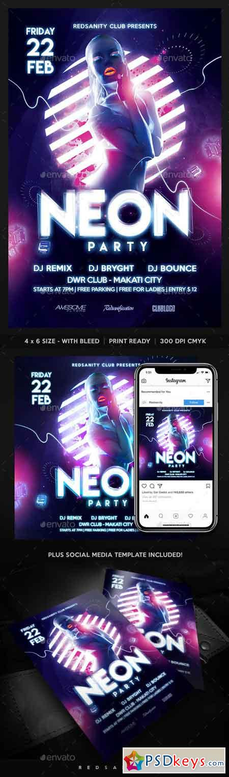 Neon Party Flyer 23113805