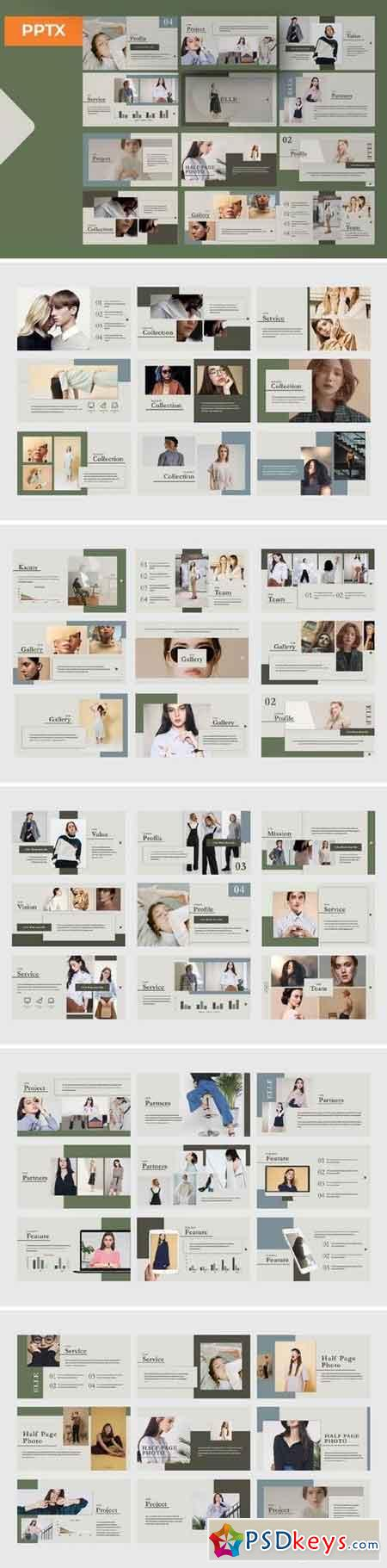 Elle Presentation - Powerpoint, Keynote, Google Sliders Templates
