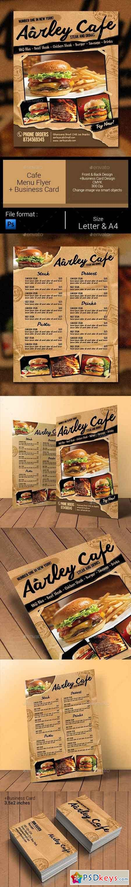 Cafe Menu Flyer + Business Card 11330096