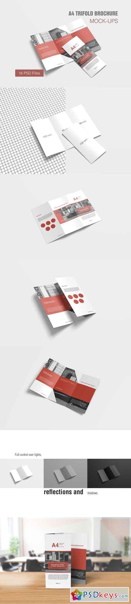 A4 Trifold Brochure Mockup 3134485