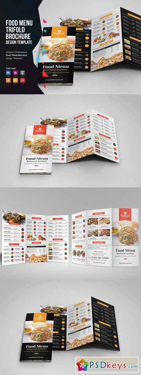 Food Menu Trifold Brochure v1 3359161
