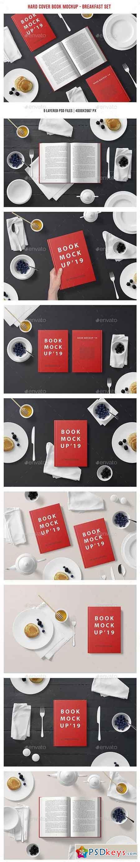 Hard Cover Book Mockup - Breakfast Set 23047642