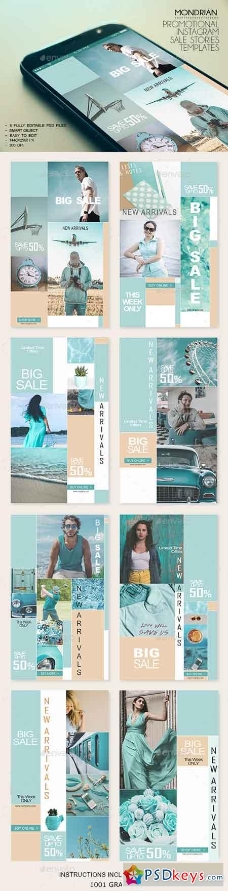 8 Mondrian Insta-Stories Sale PSD Templates 23116580