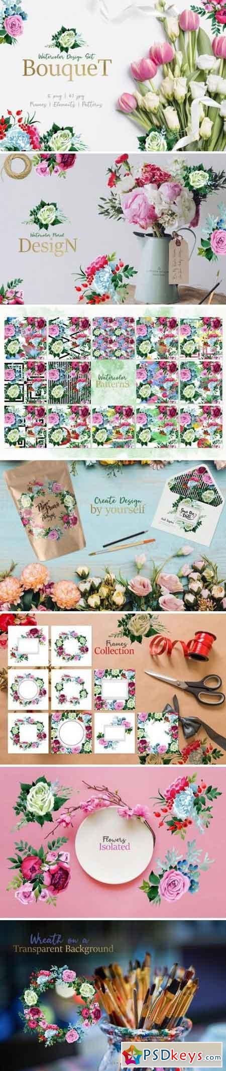 Bouquet pink Tenderness Watercolor 3360516