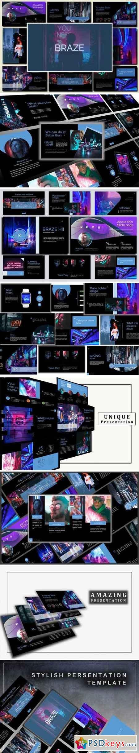 Braze Dark Innovative Powerpoint and Keynote Template