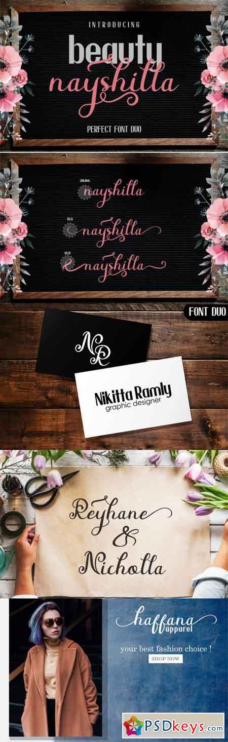 Beauty Nayshilla Font Duo 3523118