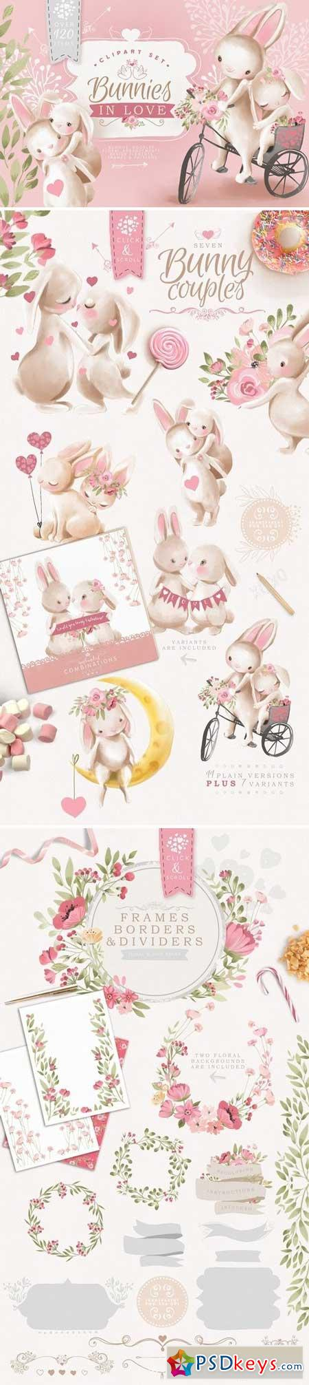Bunnies In Love Clipart Set 3247077